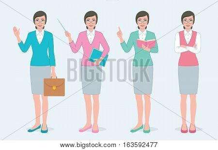 Set of four color illustration teachers woman character in different poses