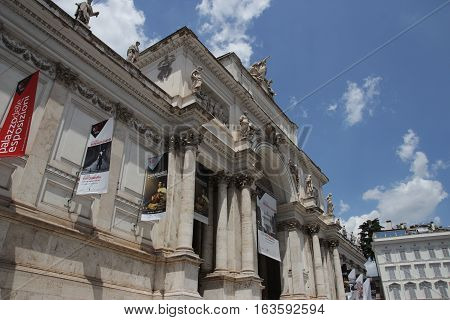 ROME ITALY - JUNE 6 2016: Palazzo delle Esposizioni neoclassical exhibition hall facade