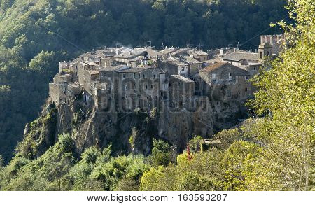 view of Calcata ancient town in Italy
