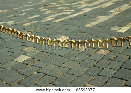 Decorative chain link fence hangs on the Red Square in Moscow Russia closeup