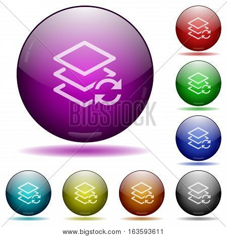 Swap layers icons in color glass sphere buttons with shadows