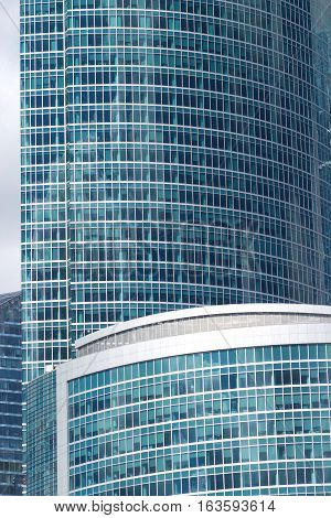Many modern office buildings in a city closeup
