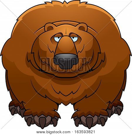 A cartoon illustration of a big hairy bear smiling.