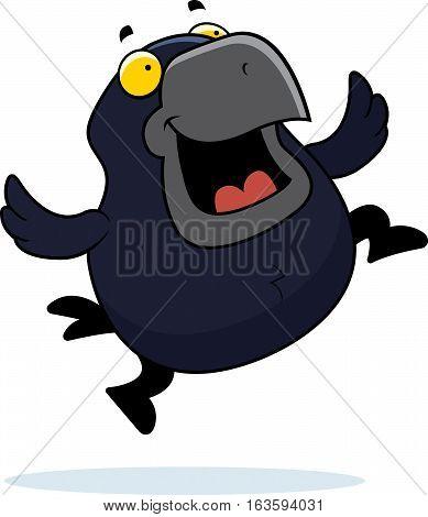 Cartoon Crow Jumping