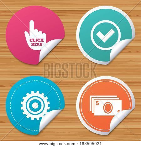 Round stickers or website banners. ATM cash machine withdrawal icons. Click here, check PIN number, processing and cash withdrawal symbols. Circle badges with bended corner. Vector