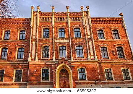 Facade clinker brick townhouse in Jawor in Poland