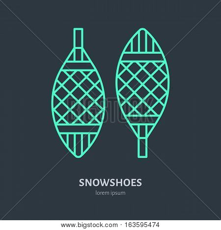 Vector thin line icon of snowshoes. Winter recreation equipment rent logo. Outline symbol of walking on snow. Cold season activities sign.