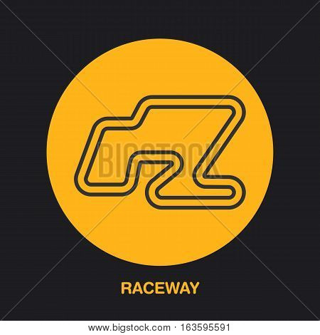Racing car track line icon. Karting logo, driving lessons sign. Raceway illustration.
