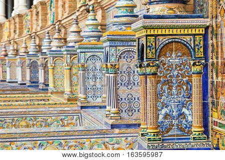 Ceramic tiles with colored ornaments on Plaza de Espana in Seville Andalusia Spain