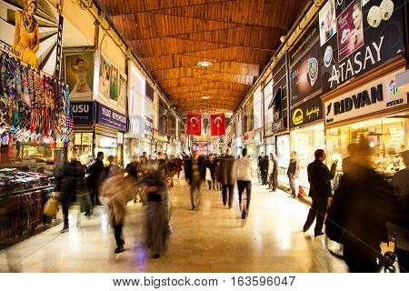 Bursa, TURKEY - MARCH 9, 2013: Kapali Carsi which is famous bazaar in Bursa. Jeweler place of city there are many place sales gold, gem, jewels