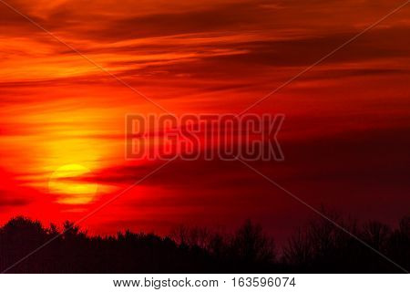 Colorful sunrise over trees in a Wisconsin sky.