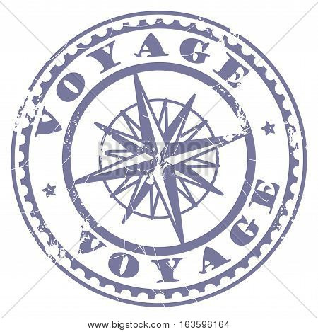 Grunge rubber stamp with compass and the text Voyage written inside the stamp, vector illustration