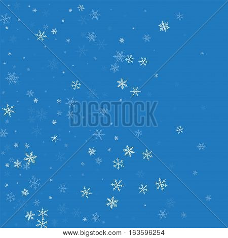 Sparse Snowfall. Left Gradient On Blue Background. Vector Illustration.