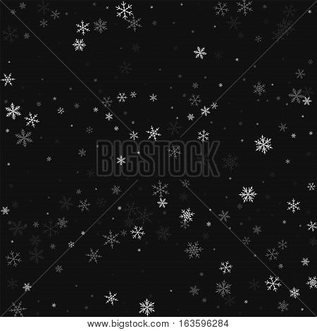 Sparse Snowfall. Scatter Horizontal Lines On Black Background. Vector Illustration.