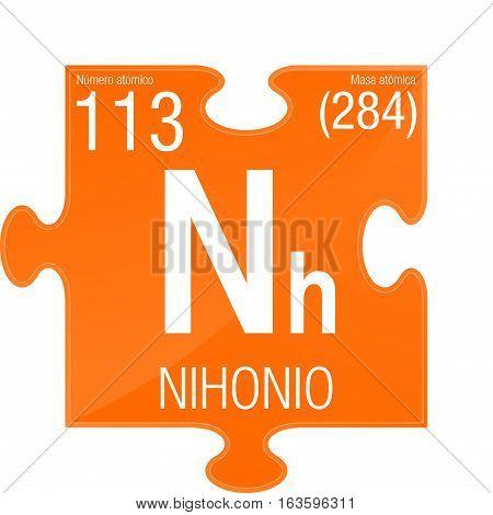 Nihonio symbol - Nihonium in Spanish language - Element number 113 of the Periodic Table of the Elements - Chemistry - Puzzle piece with orange background