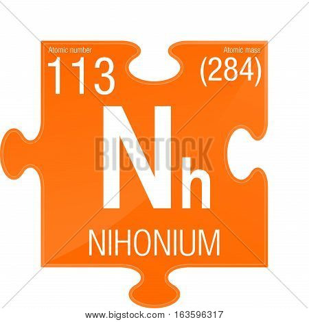 Nihonium symbol. Element number 113 of the Periodic Table of the Elements - Chemistry -  Puzzle piece with orange background