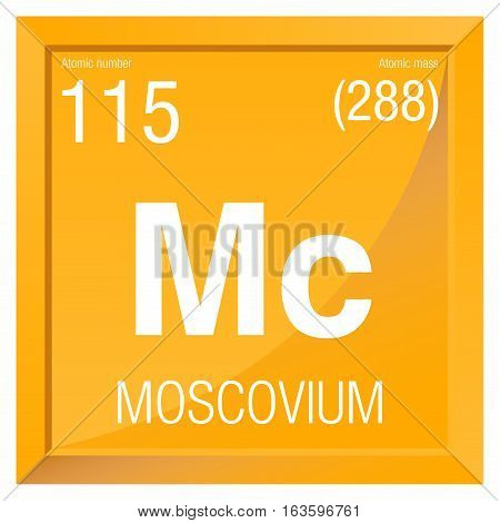 Moscovium symbol. Element number 115 of the Periodic Table of the Elements - Chemistry -  Square frame with yellow background