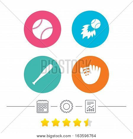 Baseball sport icons. Ball with glove and bat signs. Fireball symbol. Calendar, cogwheel and report linear icons. Star vote ranking. Vector