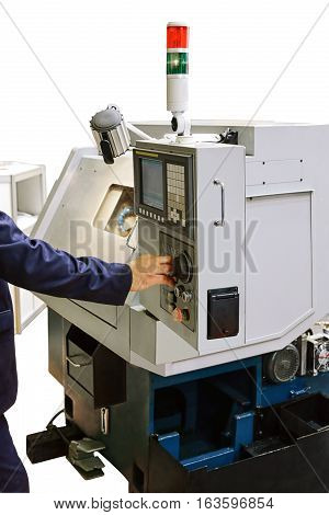 setter-programmer configures modern metal cutting machine tools