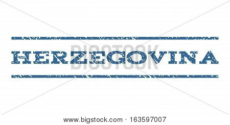 Herzegovina watermark stamp. Text tag between horizontal parallel lines with grunge design style. Rubber seal stamp with dirty texture. Vector cobalt color ink imprint on a white background.