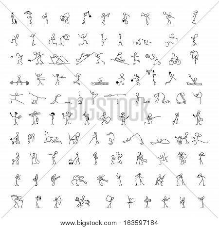 Cartoon icons set of 100 sketch little vector people stick figure in cute miniature scenes.