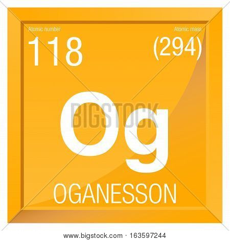 Oganesson symbol. Element number 118 of the Periodic Table of the Elements - Chemistry -  Square frame with yellow background