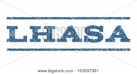 Lhasa watermark stamp. Text caption between horizontal parallel lines with grunge design style. Rubber seal stamp with dust texture. Vector cobalt color ink imprint on a white background.
