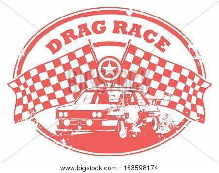 Grunge rubber stamp with Checkered Flags and the text Drag Race written inside, vector illustration