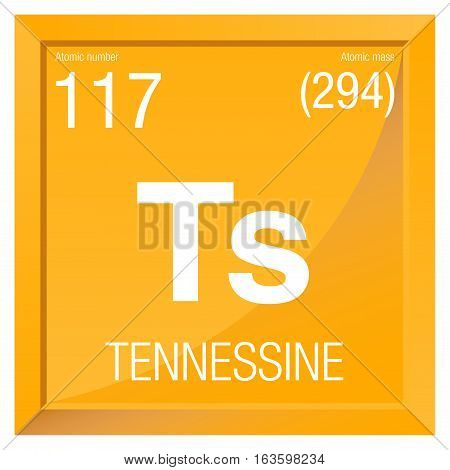 Tennessine symbol. Element number 117 of the Periodic Table of the Elements - Chemistry -  Square frame with yellow background