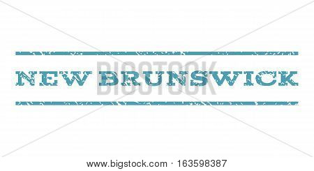 New Brunswick watermark stamp. Text tag between horizontal parallel lines with grunge design style. Rubber seal stamp with dust texture. Vector cyan color ink imprint on a white background.