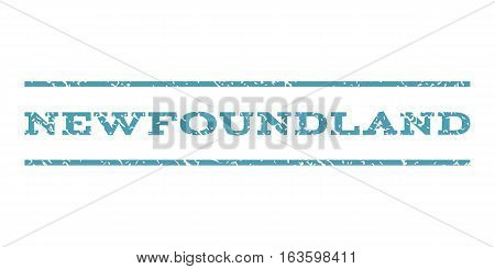Newfoundland watermark stamp. Text caption between horizontal parallel lines with grunge design style. Rubber seal stamp with dust texture. Vector cyan color ink imprint on a white background.