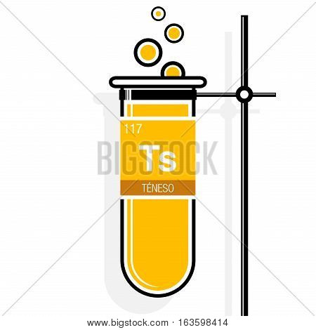 Teneso symbol - Tennessine in Spanish language - on label in a yellow test tube with holder. Element number 117 of the Periodic Table of the Elements - Chemistry