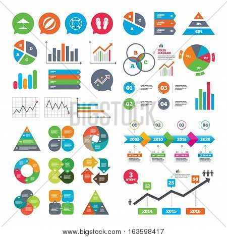 Business charts. Growth graph. Beach holidays icons. Ball, umbrella and flip-flops sandals signs. Lifebuoy symbol. Market report presentation. Vector