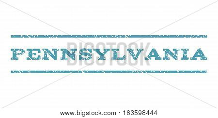 Pennsylvania watermark stamp. Text tag between horizontal parallel lines with grunge design style. Rubber seal stamp with unclean texture. Vector cyan color ink imprint on a white background.
