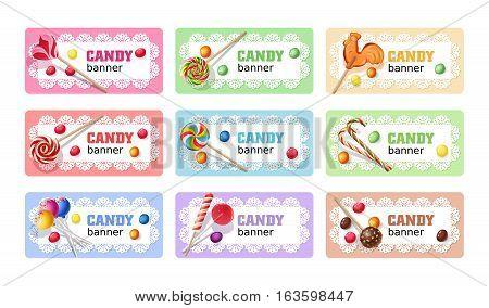 Set of sweet lollipop vector banners, headers.