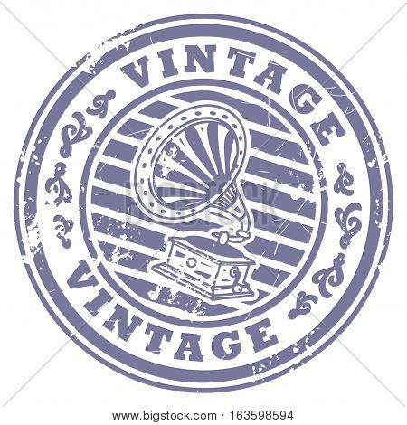 Grunge rubber stamp with gramophone and the text Vintage written inside the stamp, vector illustration