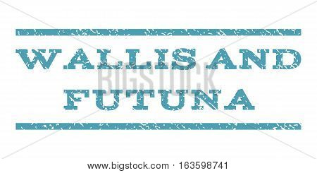 Wallis and Futuna watermark stamp. Text tag between horizontal parallel lines with grunge design style. Rubber seal stamp with dust texture. Vector cyan color ink imprint on a white background.