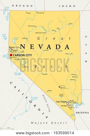 Nevada political map with capital Carson City. State in the Western, Mountain West and Southwestern regions of USA, with Las Vegas, Reno, Lake Mead and Area 51. Illustration, English labeling. Vector.