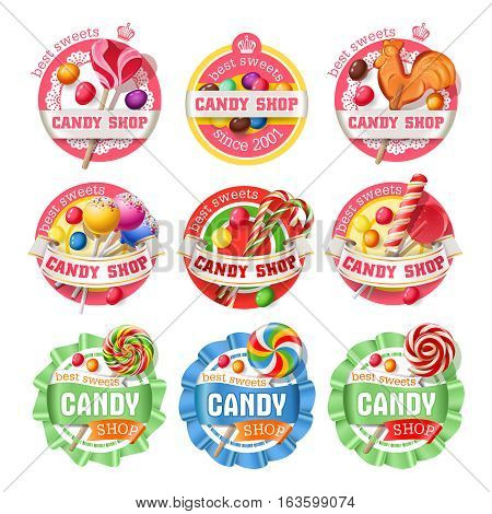 Vector set of lollipop, candy logos, stickers, made in a realistic style