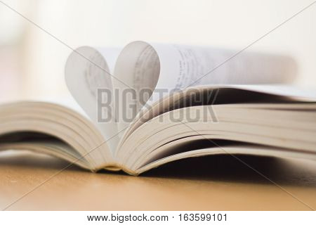 Opened Book Heart Shaped
