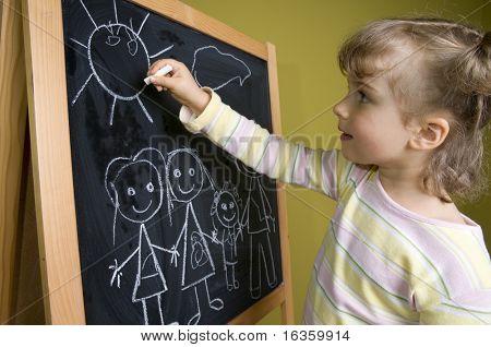 Little girl  drawing family on blackboard; education poster