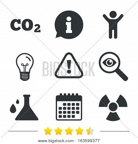 Attention and radiation icons. Chemistry flask sign. CO2 carbon dioxide symbol. Information, light bulb and calendar icons. Investigate magnifier. Vector