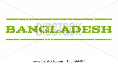 Bangladesh watermark stamp. Text tag between horizontal parallel lines with grunge design style. Rubber seal stamp with dust texture. Vector eco green color ink imprint on a white background.