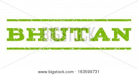 Bhutan watermark stamp. Text tag between horizontal parallel lines with grunge design style. Rubber seal stamp with dirty texture. Vector eco green color ink imprint on a white background.