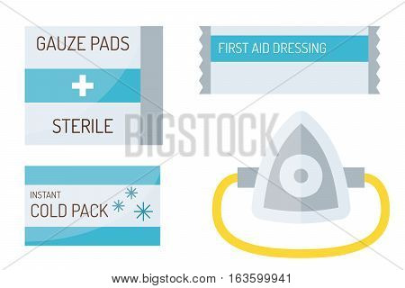 Adhesive patch plasters isolated on white background. Vector aid protection bandage medical. Help care emergency sticky injury assistance equipment.