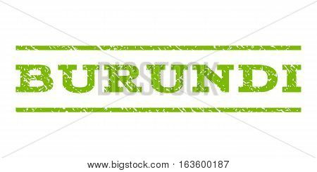 Burundi watermark stamp. Text tag between horizontal parallel lines with grunge design style. Rubber seal stamp with dust texture. Vector eco green color ink imprint on a white background.