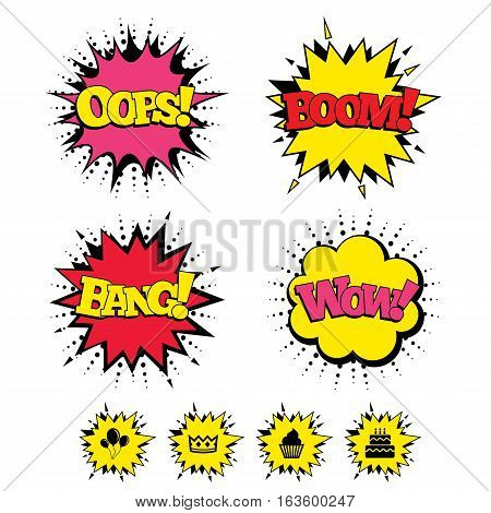 Comic Boom, Wow, Oops sound effects. Birthday crown party icons. Cake and cupcake signs. Air balloons with rope symbol. Speech bubbles in pop art. Vector