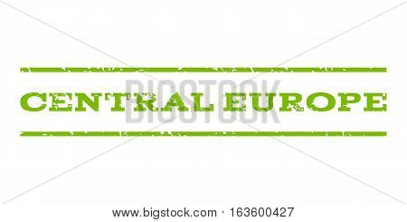 Central Europe watermark stamp. Text tag between horizontal parallel lines with grunge design style. Rubber seal stamp with scratched texture. Vector eco green color ink imprint on a white background.