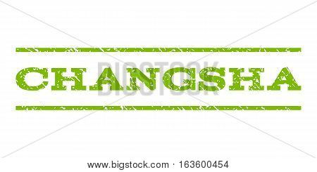 Changsha watermark stamp. Text caption between horizontal parallel lines with grunge design style. Rubber seal stamp with dust texture. Vector eco green color ink imprint on a white background.