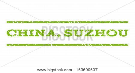 China, Suzhou watermark stamp. Text caption between horizontal parallel lines with grunge design style. Rubber seal stamp with scratched texture.